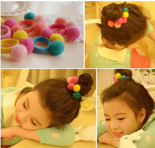 2Pcs/Lot Cute Baby Girls Hair Ropes Colorful Pompon Kids Cotton Elastic Hair Rubber Bands For Children Hair Accessories Tie Gum fashion children headwear bowknot hello kitty hair clips gum elastic bands hair accessories barrettes scrunchies for cute baby