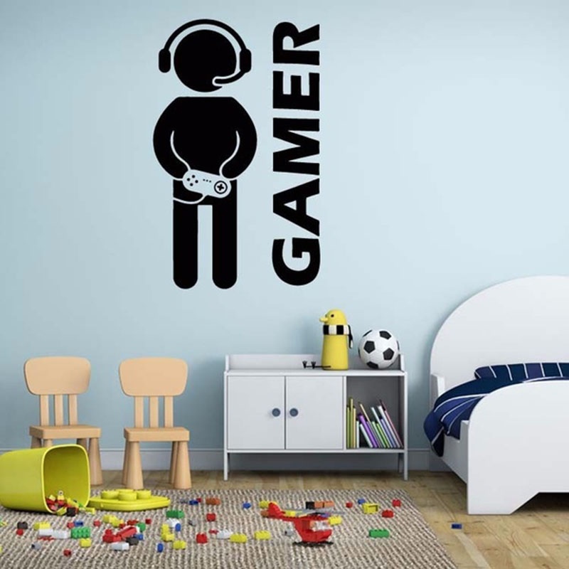 2017 New Video Game Wall Sticker Gamer Joystick Wall Decal