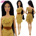 Indian Fairy Tale Princess Dress Dancing Wedding Party Outfit Copy Pocahontas Costume Clothes For Barbie Doll Pretend Play Toy
