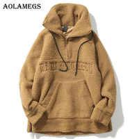 Aolamegs Male Sweatshirt Letter Plus Velvet Sweatshirts Couple Pullover Fashion Long Sleeve High Street Streetwear Casual Winter