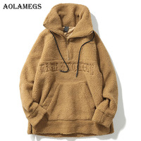 Aolamegs Male Sweatshirt Letter Plus Velvet Sweatshirts Couple Pullover Fashion Long Sleeve High Street Streetwear Casual Winter