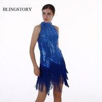 Blingstory European Gorgeous Sequin Tassel heavy embroidery off shoulder summer dress women Fringe KR4005