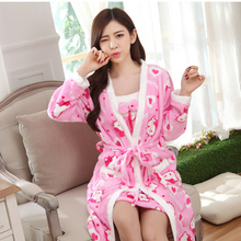 Thick Coral Velvet Women Pajamas Autumn Winter Sleepwear Long Paragraph Skirt Cute Flannel Robe Two Piece Set Home Nightgown