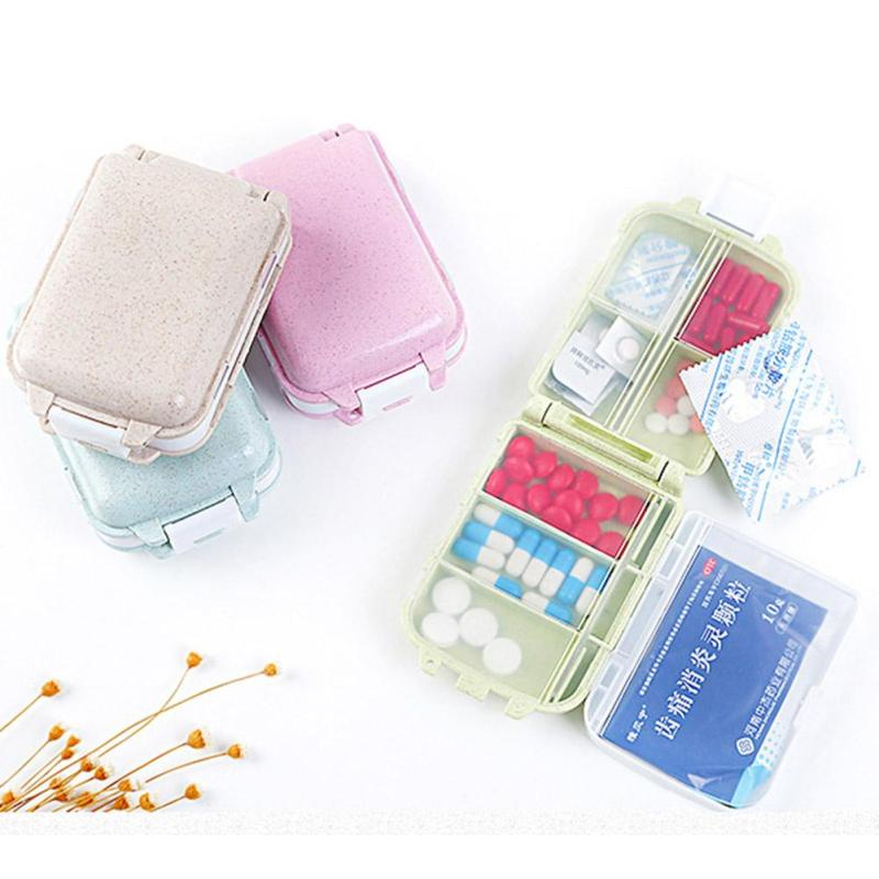 Three-layer Small Pill Box Tablet Splitters Medicine Dispenser Sealed Container Wheat Straw Safety Portable Pill Boxs L4