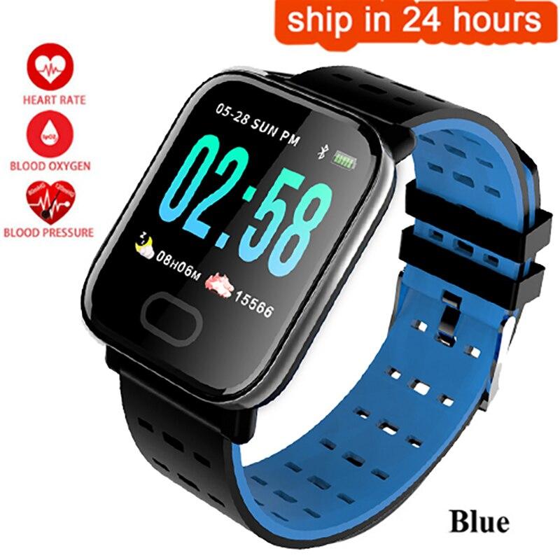 A6 De Medida Da Pressão Arterial Monitor de Freqüência Cardíaca relógio Inteligente Esporte SmartWatch À Prova D' Água Pulso De Fitness Rastreador para IOS Android pk q8