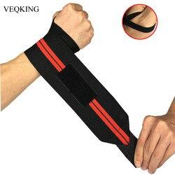 2 peças Pulseira Ajustável Elastic Wrist Wraps Ataduras para Levantamento De Peso Levantamento de Peso Apoio para o Punho Respirável 3 cores