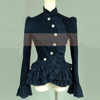 Spring Women Ruffled Shirts Vintage Victorian Short Jacket Ladies Gothic Blouse Lolita Costume
