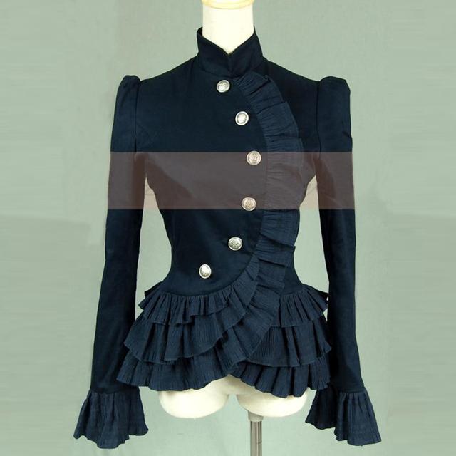 Mulheres primavera camisas de Babados Senhoras jaqueta curta gótico Do Victorian Do Vintage blusa lolita traje