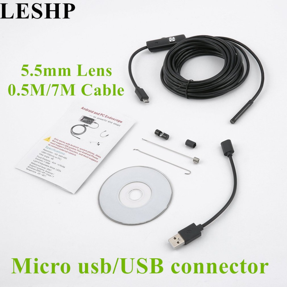 LESHP 5.5mm 0.5M/7M Endoscope Waterproof Inspection Borescope with 6 LEDs Focus Camera Lens USB Endoscope for Android PC