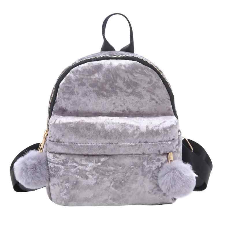 Women Velvet Small Backpack Preppy Style Cute Hair Ball Shoulder Bags  Korean Travel School Bag Mochila 4b10ee2932351