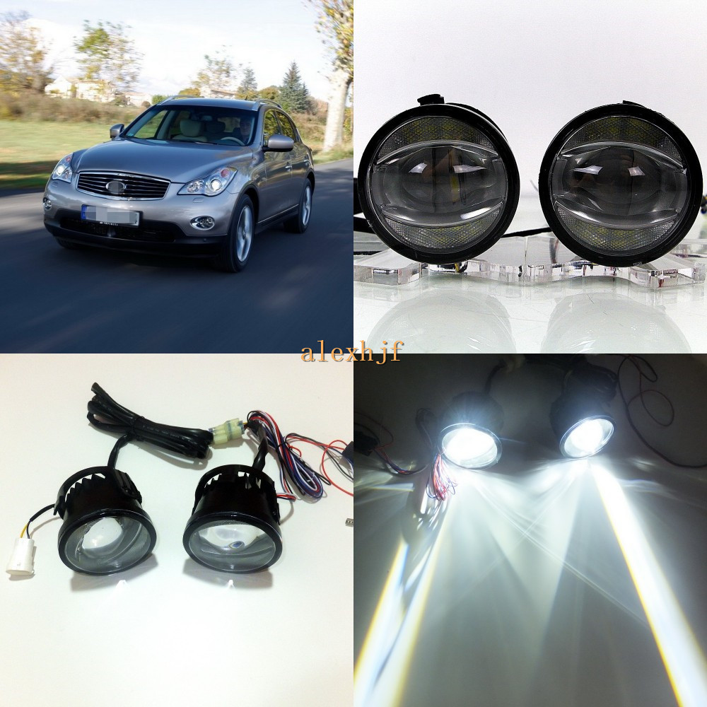 July King 1600LM 24W 6000K LED Light Guide Q5 Lens Fog Lamp +1000LM 14W Day Running Lights DRL Case for Infiniti EX35 EX37 08-12 for infiniti fx35 37 45 50 ex35 37 h11 wiring harness sockets wire connector switch 2 fog lights drl front bumper led lamp