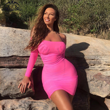 Parthea Beach Party Dress Women Off Shoulder Summer 2019 Neon Pink See Through Mesh Sexy Mini Cover Up Robe