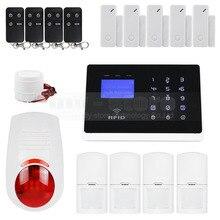 APP Controlado DIYSECUR Conexiones Inalámbricas y Cableadas Zonas de Defensa GSM Marcado Automático Seguridad Para El Hogar Sistema de Alarma + Flash Siren + RFID