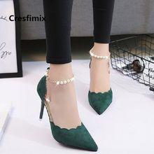 0e090fb1 Mujer Moda Verde cómodo primavera y verano Oficina tacones altos Señora  Dulce ocio ligero Flock zapatos de tacón alto E2920