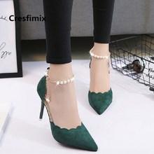 Women Fashion Green Comfortable Spring & Summer Office High Heels Lady Sweet Leisure Light Weight Flock High Heel Shoes E2920