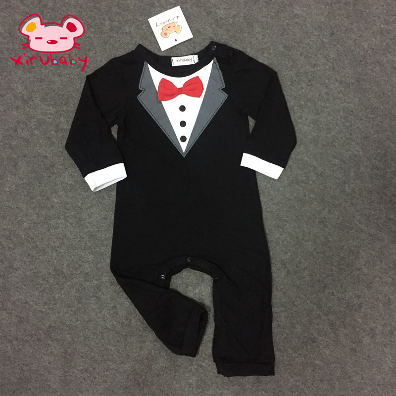 Xirubaby baby boy clothes Long sleeve gentleman Newborn Infant baby boy jumpersuit 2 colors
