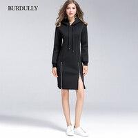 BURDULLY Новая мода осень Для женщин свободные полный средней длины акрил пуловеры толстовка полиэстер 2018 пальто женский Англия Стиль