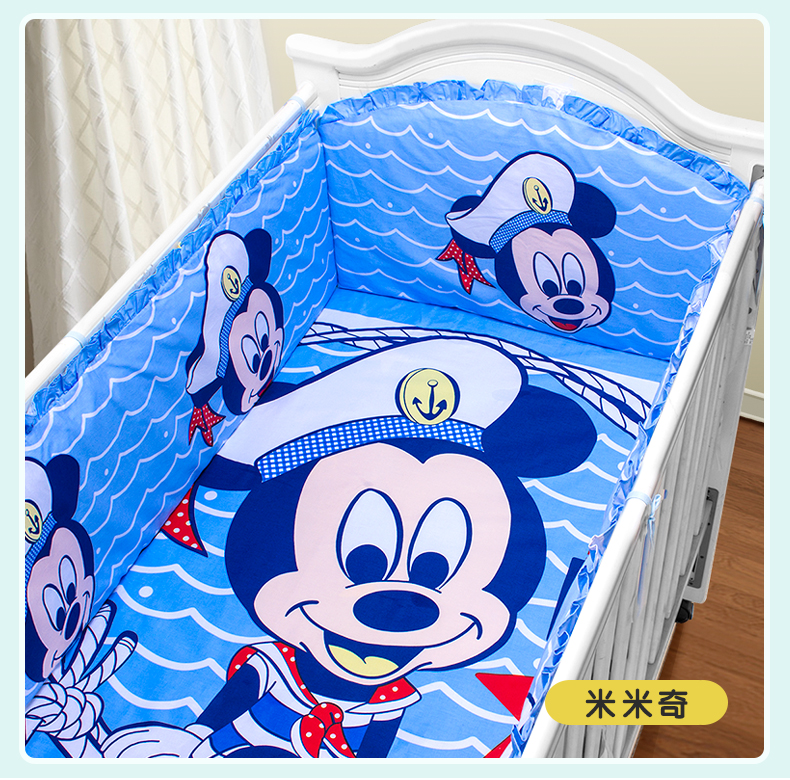 цены Promotion! 5PCS Cartoon crib bumper Cot bed Set Crib Bedding Set 100% Cotton ,include(4bumper+sheet )