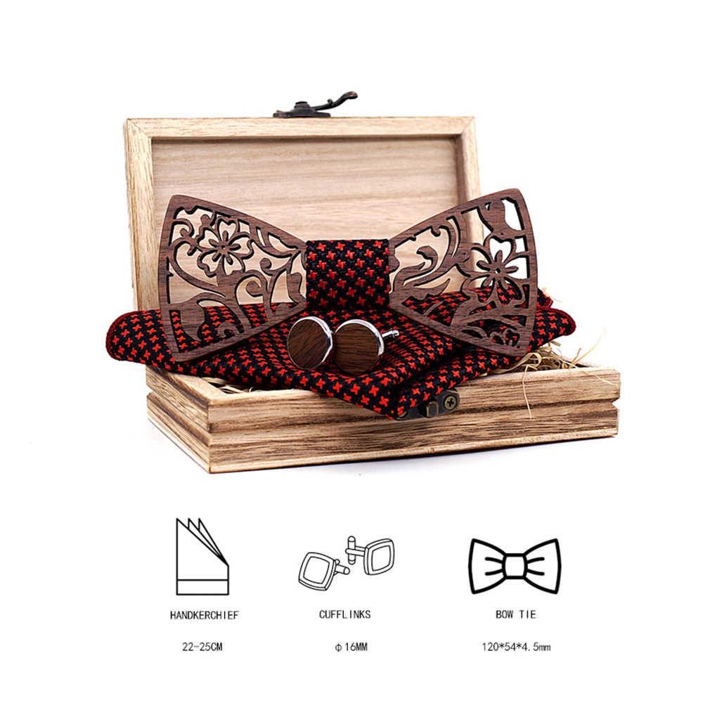 Mens 4PCS di Legno bow Tie Set Degli Uomini Fazzoletto di legno Bowtie Gemelli Cravatta Cravatte Di Seta Per Festa di Nozze di Business Hombre