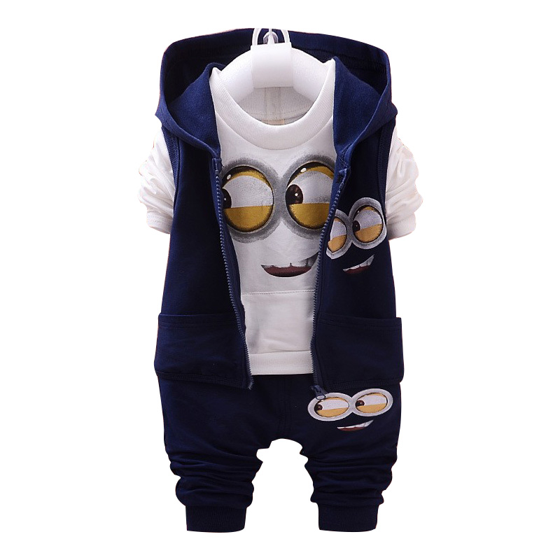 Brand boys girls baby 1 4 yellow 3piece suit kids clothes for Minion clothespins