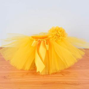 Желтая пушистая юбка-пачка и повязка на голову для маленьких девочек, костюм для фотосессии новорожденных, наряд для дня рождения для детей ...