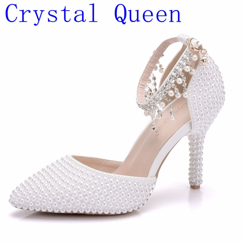 2ddc4dd8feb6 Crystal Queen Pointed Toe White Pearl Rhinestone Chain Wedding Shoes Thin  Heels Shoes Fashion Bridal Shoes Female Party Sandals-in High Heels from  Shoes on ...
