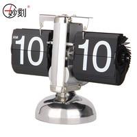 MIAO KE Retro Flip Clock Metal Desk Clock For Home Decor clocks Balance Internal gear Auto Flip Digital Table Clock