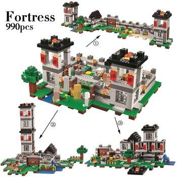 990 шт. Конструктор My World Minecraft крепость 4 модели Фигурки сделай сам, конструкторные блоки, Детские кубики, игрушки для детей, Совместимость с... >> FunnyForU Store