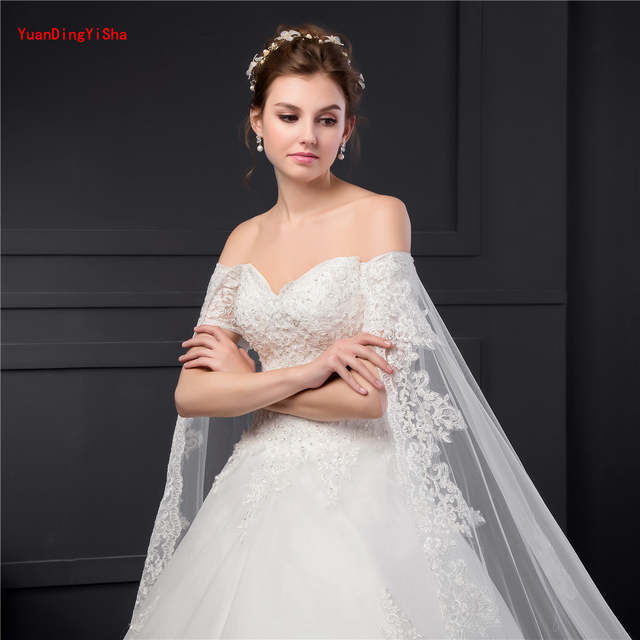 3a92080bfc0 Big Train Lace Wedding Gowns Short Sleeve Customized Ball gown Bridal Gowns  Lace Appliques Wedding Dress