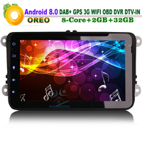 8 Core 8 Android 8.0 Car CD Player Head Unit DAB+ DVD DVR WiFi 3G DTV IN OBD GPS Navi Car Multimedia Player for VW Passat CC