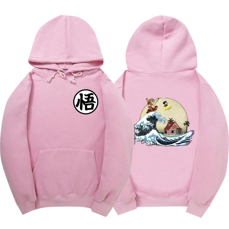 2017 Men'S Women Dragon Ball Hoodie Pink Autumn New Spoof Cartoon Fashion Dragon Ball Printing Cotton 1:1 Hoodies