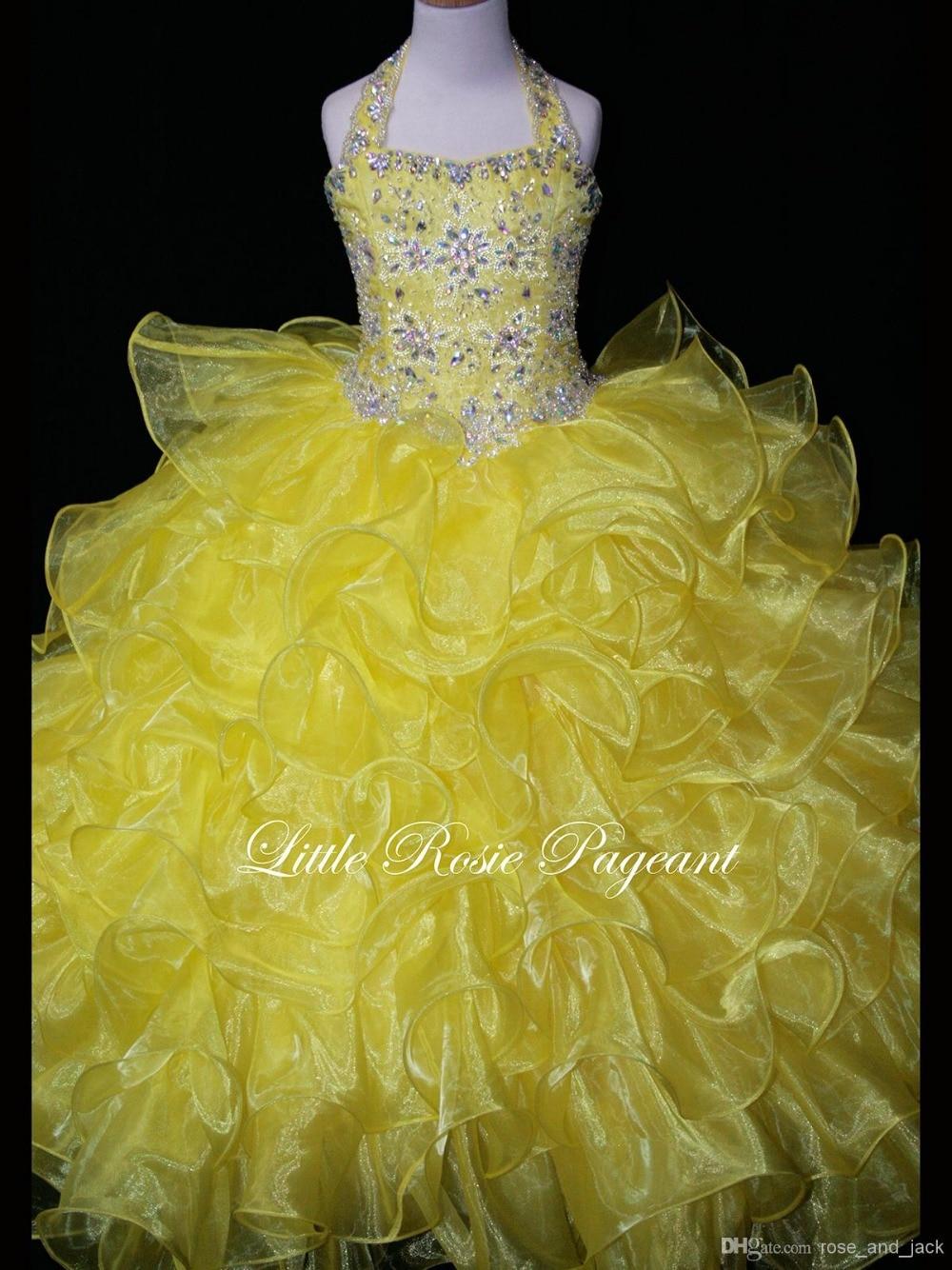 Bright Yellow Flower Girl Dress Halter Ball Gown Beaded Kids Prom