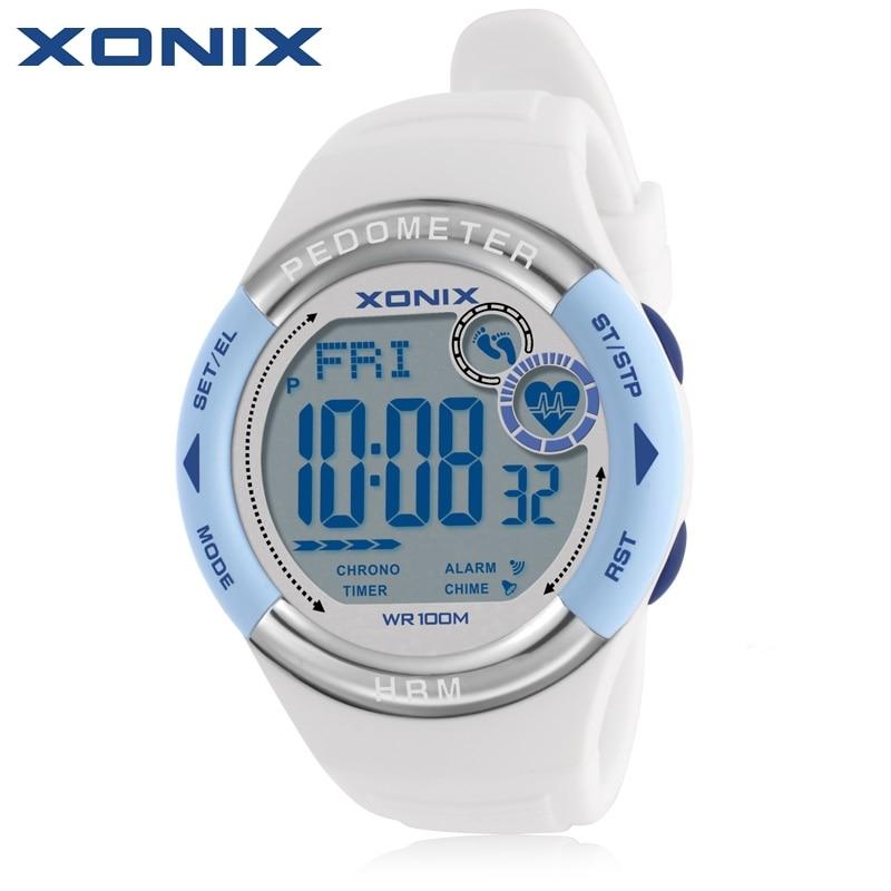 Hot XONIX Pedometer Heart <font><b>Rate</b></font> Monitor Calories BMI Women Sports Watches Waterproof 100m Digital Watch Running Diving Wristwatch