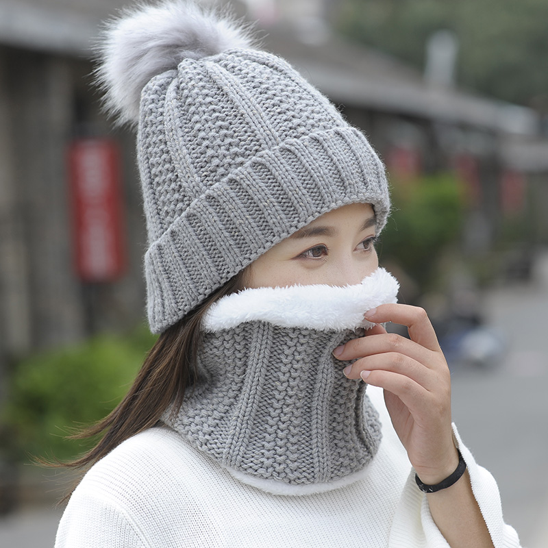 Autumn Winter Women's Hat Caps Knitted Wool Warm Scarf Thick Windproof Balaclava Multi Functional Hat Scarf Set For Women