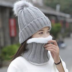 Осень Зима для женщин шляпа шапки вязаный шерстяной теплый шарф толстый ветрозащитный Балаклава Multi функциональная шапка набор для