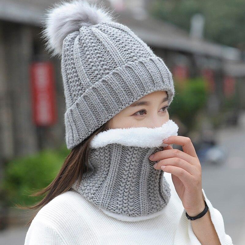 Gorro de mujer Otoño Invierno gorro de lana de punto bufanda gruesa a prueba de viento pasamontañas Multi Functional sombrero bufanda conjunto para mujer