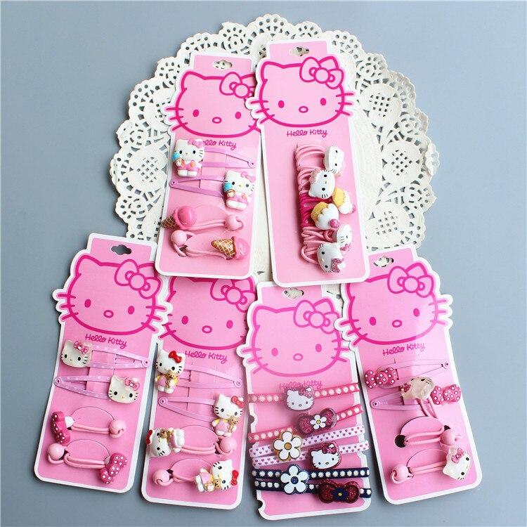 Fashion Children   Headwear   Elegant Hello Kitty Hair Bands Gum Elastic Bands Hair Accessories Gum Scrunchies For Cute Baby