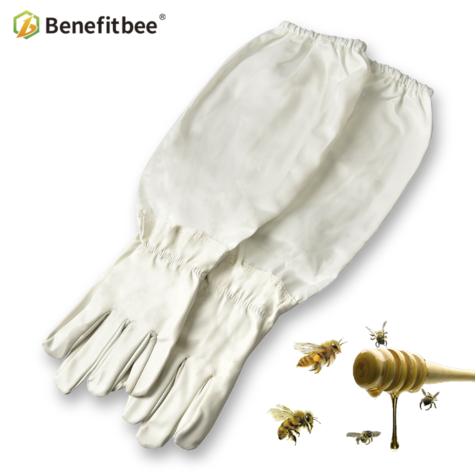Benefitbee 1Pair Beekeeper Prevent Gloves Protective Sleeves Thin Soft PU Leather Anti Bee Beekeeping Apiculture Equipment