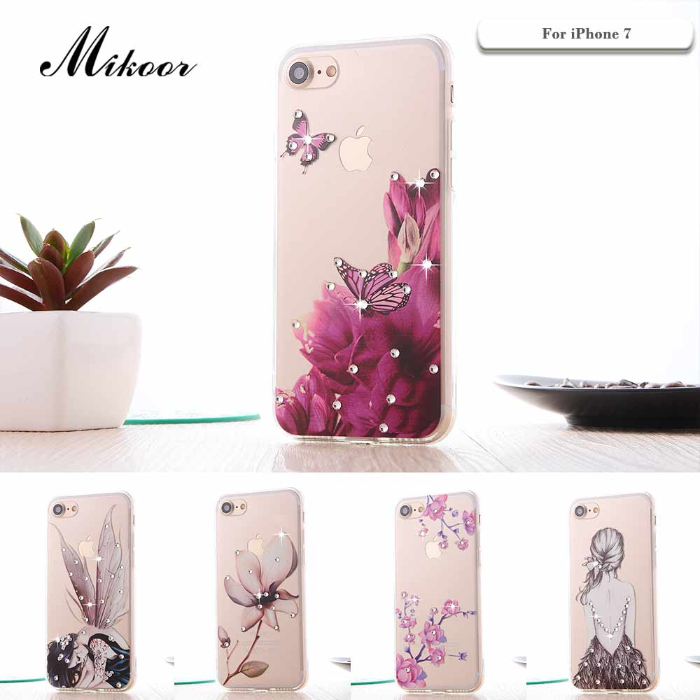 Moda Pintado Mikoor Rhinestone 4.7For iPhone 7 Caso Suave de TPU Para el iphone