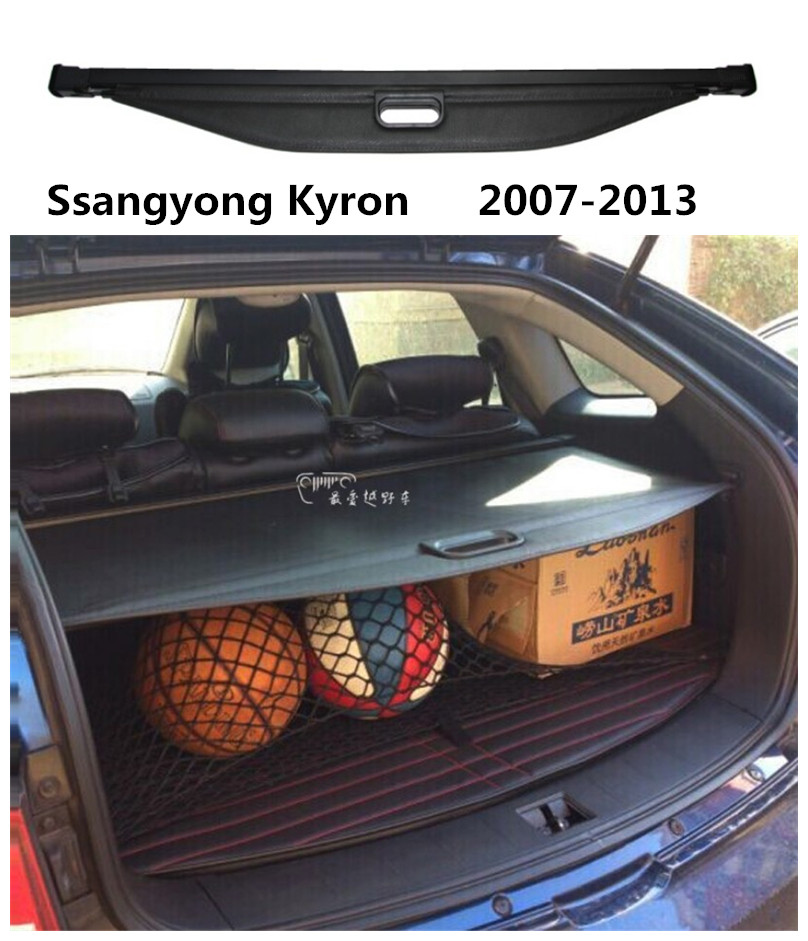 Car Rear Trunk Security Shield Cargo Cover For Ssangyong Kyron 2007.2008.2009.2010.2011.2012.2013 High Qualit Auto Accessories car rear trunk security shield cargo cover for subaru xv 2012 2013 2014 2015 2016 2017 high qualit black beige auto accessories