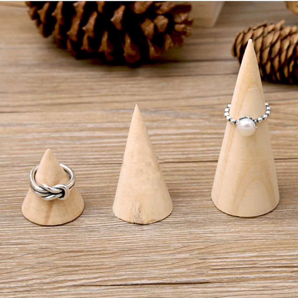Novelty Unpainted Plain Cone Wooden Wedding Ring Jewelry Display Stand