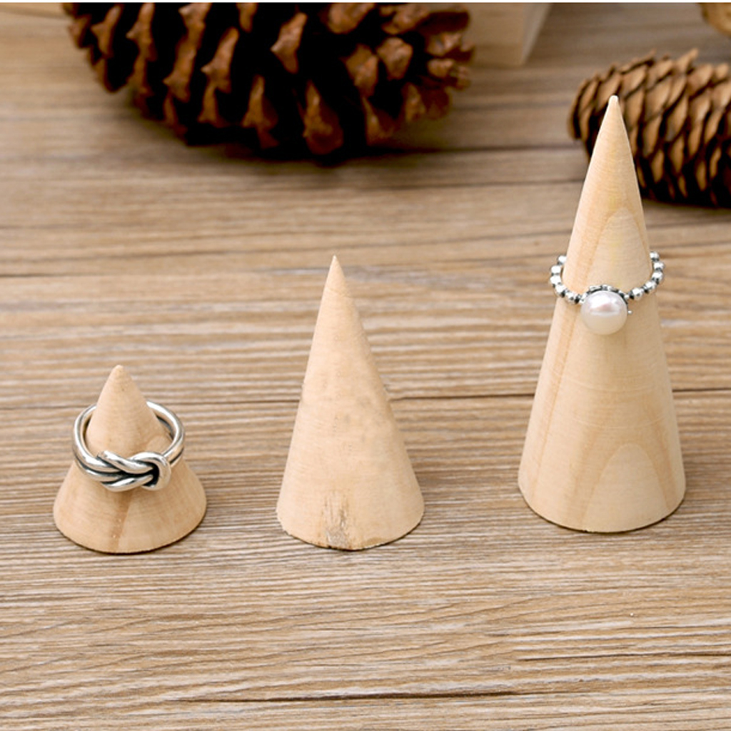 Novelty Unpainted Plain Cone Wooden Wedding Ring Jewelry Display Stand Earrings Jewelry Storage