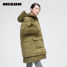 Misun женская мода большой карман средней длины вниз пальто утолщение верхней одежды