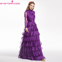 Women Lace flare sleeve ruffled cake dress long runway party purple casual beach maxi dresses female vestido 2019 E7859