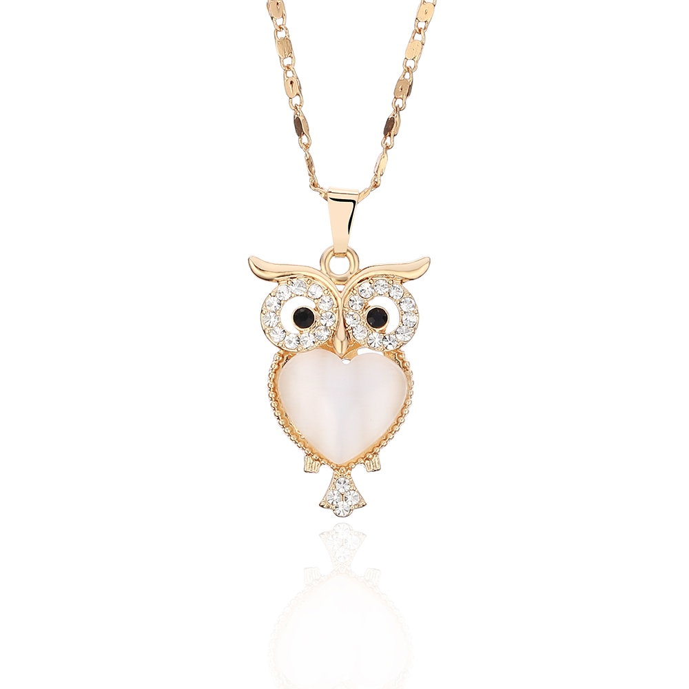 Vintage Antique Silver Cute Small Owl Bird Charm Pendant Chain Necklace Gift
