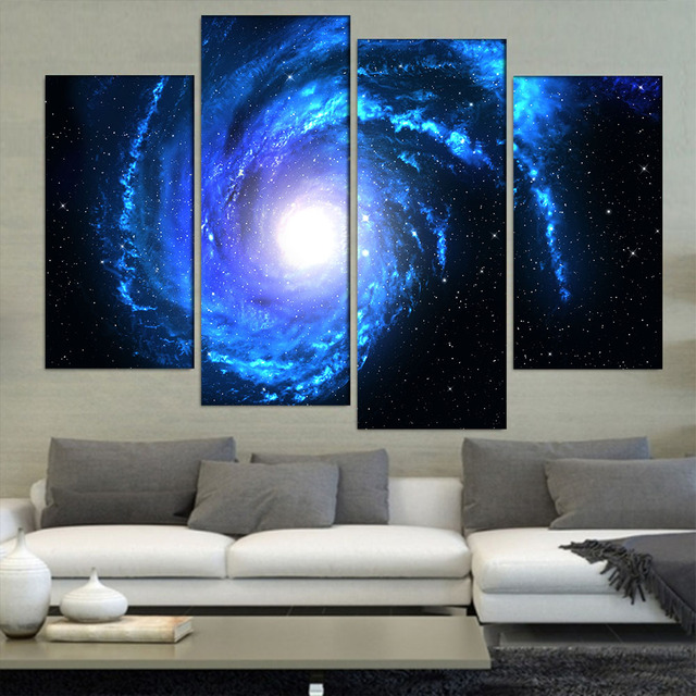 4 Pcs/Set Large Abstract Distant Blue Spiral Galaxy Canvas Print Painting Modern Galaxy Wall & 4 Pcs/Set Large Abstract Distant Blue Spiral Galaxy Canvas Print ...