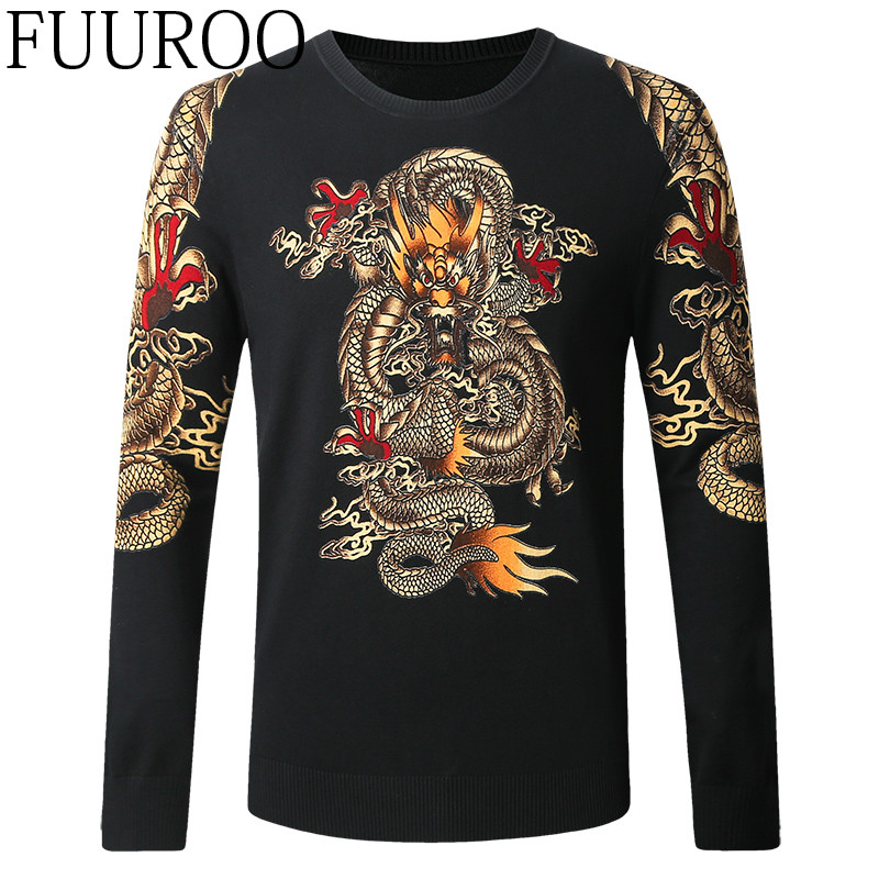 Men Sweater 2016 New China Ancient Dragon Printing Sweater Fashion Casual Designer Brand Men Pullovers CBJ-T0152
