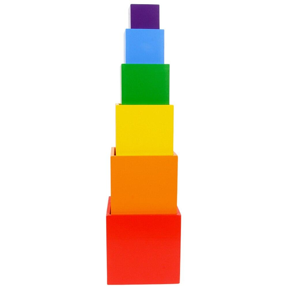 6 pièces/ensemble blocs de construction arc-en-ciel coloré boîte carrée bébé en bois empilables blocs de construction jouets