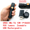 2017 New USB Rechargeable CREE XmlT6 LED mini torch Flashlight  18650 LED Zoomable Lamp  light