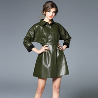 High End Europe Fashion PU Leather Complex Thicken Dress Turn Down Collar Dark Green Color Retro